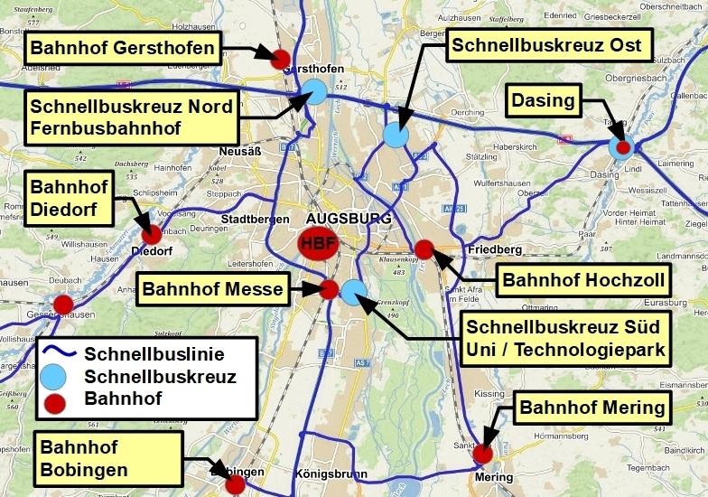 Linienplan Schnellbuslinien für den Ballungsraum Augsburg